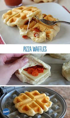 Get ready for your kids to ask for these Pizza Waffles every night of the week! It's a flip on the old favorite using a waffle iron. Simply fill biscuits with melty cheese and pepperoni for a simple and smart dinner idea. The boys would LOVE THIS Waffle Pizza, Waffle Maker Recipes, Foods With Iron, Love Food, Food To Make, Breakfast Recipes, Dessert Recipes, Cooking Recipes, Easy Cooking