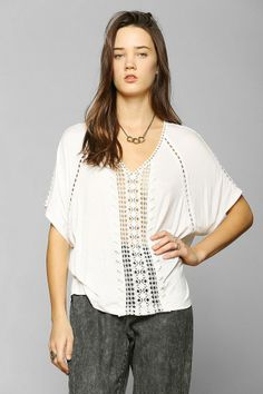 Staring At Stars Crochet-Inset Flutter Tee #urbanoutfitters