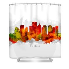 Richmond Virginia Cityscape 15 Shower Curtain by Aged Pixel