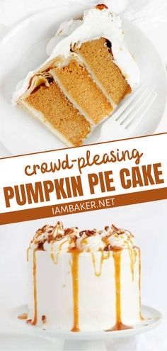 An easy dessert recipe you should totally make for Thanksgiving! Pumpkin Pie Cake is perfect for serving a big crowd. This cake is a giant version of a pumpkin pie with 3 glorious layers of pumpkin pie topped with whipped cream, caramel, and pecans. Add this to your holiday baking  list!