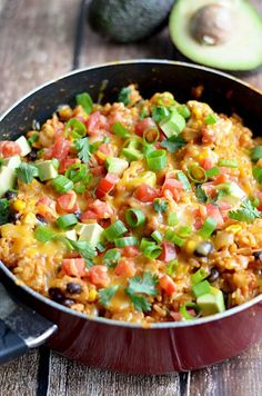 """One Pot Cheesy Chicken Taco Rice. This 30 minute, one pot meal will become a quick family favorite!"""