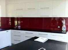 White Kitchen Black Benchtop white kitchen - black benchtop and metaline splashback in lipstick