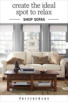 Create the ideal spot to relax with family and friends with living room furniture such assofas and loveseats.Whether you're looking for a classic, traditional look or something more modern, Pottery Barn's collection of couches and love seats are guaranteed to add distinctive flair to your room.