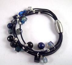Gypsy in Navy Blue  Five Strand Greek Leather by DonatiDesigns, $34.00
