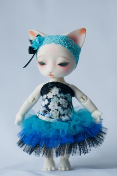 #BJD #doll #cat #Pipos #Ringo #corset #blue #craft #handmade #etsy #LenivkaShop #PblCb