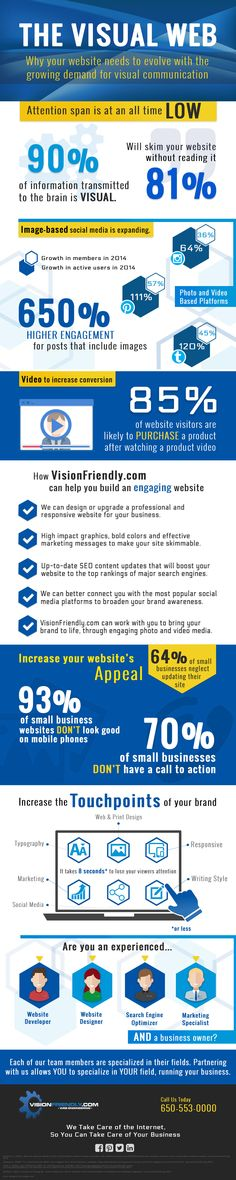 Infographic with facts about how to keep your visitor's attention and increase appeal to your website! By VisionFriendly.com All Time Low, All About Time, Illinois, Attention Span, Your Website, Digital Marketing, Infographic, Facts, Design