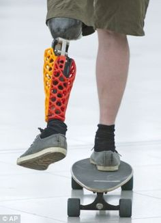 A man demonstrate a lower limb prosthesis on a skateboard promoted by the Russian company ...see link