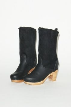 "9"" Pull on Shearling Boot on High Heel in Black Suede"