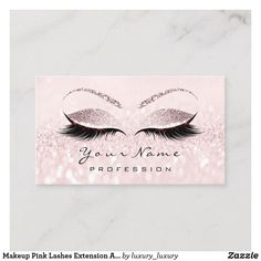 Makeup Pink Lashes Extension Appointment Card