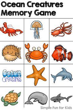 Printables for Kids: Ocean Creatures Memory Game Más Ocean Activities, Toddler Activities, Ocean Unit, Ocean Ocean, Ocean Life, Underwater Theme, Ocean Party, Beach Party, Memory Games For Kids