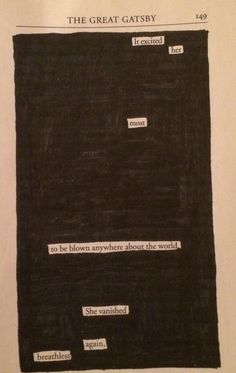 Blackout Poetry The Great Gatsby Sayings Great