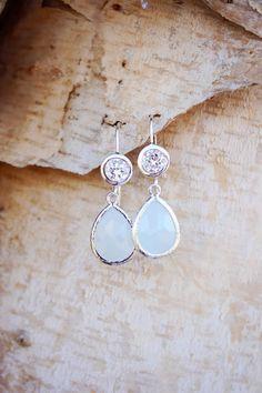 Light Blue Glass Earring Crystal Drop Earring by Riverbirchjewelry
