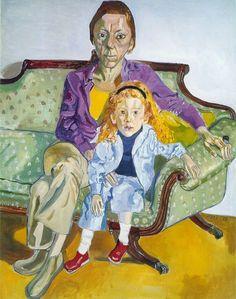 ALICE NEEL      Linda Nochlin and Daisy, 1973  oil on canvas,55 1/2 x 44 in (141 x 111.8 cm)