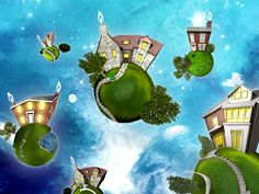 """British Gas """"Planet Home"""" - Bryan Lee Bryan Lee, Creative Textiles, Planets, British, Ads, Painting, Inspiration, Image, House"""