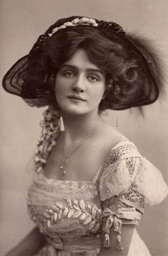 Lily Elsie a British actress and singer. She was very beautiful and was the most photographed women in the Edwardian era. In my research of dresses, I've come across her pictures many times.  To me she is exemplifies a true woman of her times.