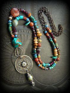 Gypsy Bohemian Banjara Kuchi Turquoise Jasper Coral by YuccaBloom