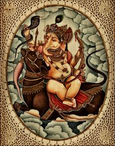 Ganesha sharing an affectionate moment with Musika