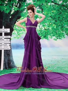 V-neck Beading Evening Dress Chiffon Purple Watteau Empire fashionos.com