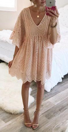 blush eyelet dress