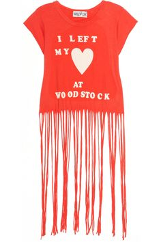 Wildfox Printed fringed cotton T-shirt - 65% Off Now at THE OUTNET