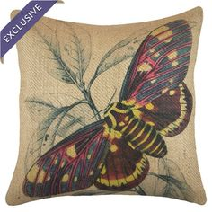 Handmade in America exclusively for Joss & Main, this pillow features burlap upholstery with a multicolor moth motif.  Product: Pillo...