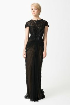 Paillette Lace and Tulle Gown in Black / Nude - Evening Shop | Tadashi Shoji