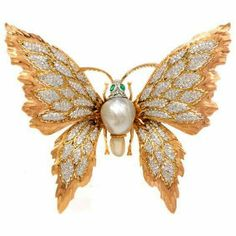 Buccellati Vintage Diamond Pearl Emerald 18K Pink & White Gold Butterfly Lapel Brooch