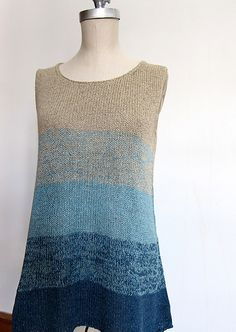Via Ravelry: Ombre Tank - free knitting pattern by Espace Tricot. There are many more free patterns when you visit the Espace Tricot website. Knitting Patterns Free, Knit Patterns, Free Knitting, Free Pattern, Free Sewing, Summer Knitting, Knitting Yarn, How To Purl Knit, Knit Or Crochet