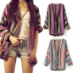 "Retro Novelty Women Lady BOHO Ethnic Colorl Wave Stripe Knit Top Blouse Sweater Cardigan Winter Autumn Fashion Hot New $<span itemprop=""lowPrice"">15.05</span> - <span itemprop=""highPrice"">15.25</span>"