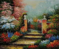 "Beautiful Framed Wall Art Cheap Garden Gate, Size: 24"" x 20"", $83. Url: http://www.oilpaintingshops.com/beautiful-framed-wall-art-cheap-garden-gate-1858.html"