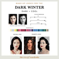 If you have just discovered that you are a Dark Winter in the seasonal colour analysis, find out what the best Dark Winter make-up colours are. Paleta Deep Winter, Deep Winter Palette, Deep Winter Colors, Deep Autumn, Winter Make-up, Dark Winter, Makeup Looks Winter, Dark Color Nails, Seasonal Color Analysis