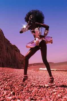 futuristic girl in desert:
