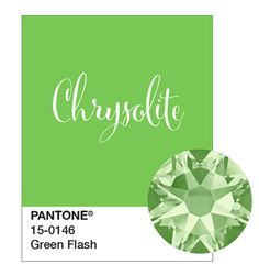 Swarovski's Chrysolite & Pantone's Green Flash http://www.harmanbeads.com/swarovski-flatback-rhinestones-2088-chrysolite