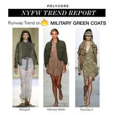 """NYFW Trend Report: Military-Green Jackets"" by polyvore-editorial ❤ liked on Polyvore featuring Desigual, Marissa Webb, NYFW, militarygreen and pvnyfw"