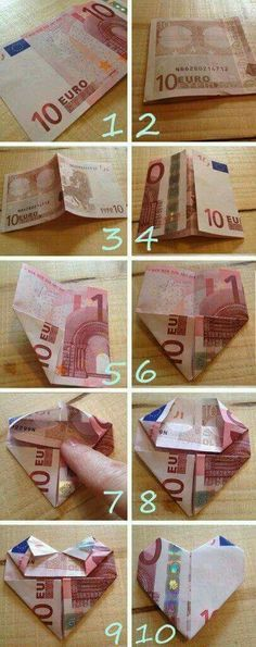Hartje-vouwen-van-geld – Origami Community : Explore the best and the most trending origami Ideas and easy origami Tutorial Homemade Gifts, Diy Gifts, Best Gifts, Don D'argent, Folding Money, Diy And Crafts, Paper Crafts, Origami Paper, Wedding Gifts