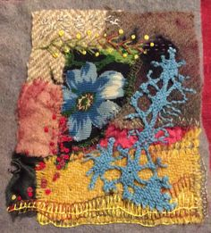 Summer Time. Textile collage . Ann Stephens Textile Fiber Art, Textile Artists, Textiles Sketchbook, Crazy Patchwork, Fabric Journals, Handmade Books, Fabric Art, Beaded Embroidery, Needlework