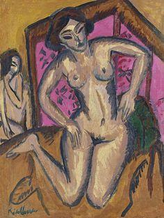 Visto 19/11/13 - Fauvismo - Ernst Ludwig Kirchner Desnudo de rodillas ante un biombo rojo (reverso: Desnudo sentado con pierna doblada) c. 1911-1912 Óleo sobre lienzo 75,5 x 56,7 cm Museo Thyssen-Bornemisza, Madrid