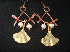 Unique Handmade Foldformed Bronze Earrings