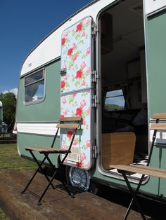 Vintage Caravans restyled at Whitecliff Bay on the Isle of Wight
