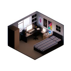 Click image for larger version. Name: 1 - My Bedroom.png Views: 2169 Size: MB ID: 417131 Isometric Art, Isometric Design, Bedroom Setup, Gaming Room Setup, Video Game Rooms, Desk Inspiration, Game Room Design, Gamer Room, House Rooms