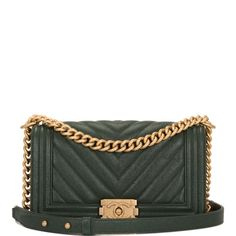 9265b02df1a8 Chanel Boy Dark Shiny Chevron Quilted Caviar Medium Green Leather Shoulder  Bag