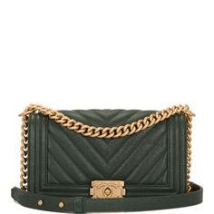 3665a2a788c5ae Chanel Boy Dark Shiny Chevron Quilted Caviar Medium Green Leather Shoulder  Bag