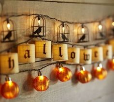 Decoration, Astonishing Pottery Barn Halloween With Happy Halloween String Lights And Halloween Table Setting The Pottery Barn Also Good Jac. Fröhliches Halloween, Holidays Halloween, Halloween Decorations, Halloween Lighting, Halloween Garland, Halloween Tricks, Halloween Costumes, Halloween Clothes, Halloween Designs