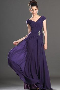 Grape Natural Waist Spring Misses Pleated Bodice Summer V-Neck Mother Of The Bride Dress