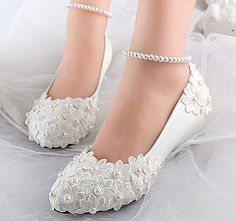 White lace satin pearl flowers wedge Wedding flats shoes Bridal heels size 5-12  | Clothing, Shoes & Accessories, Wedding & Formal Occasion, Bridal Shoes | eBay!