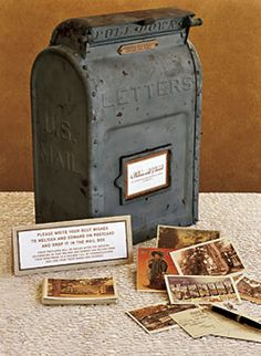 Vintage postcard guestbook - love this idea.