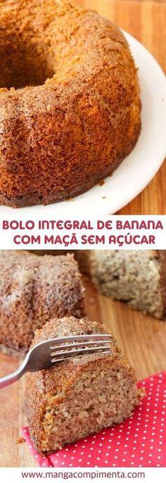 Bolo Integral de Banana com Maçã sem Açúcar