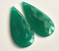 Green Chalcedony Faceted Drops 2 pcs Matched Pair by gemsforjewels