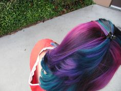 Purple pink and teal hair