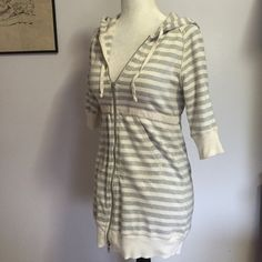 Free People Short Sleeved Hoodie- XS Grey & white stripes, front pockets & full front zipper in great condition! From the Intimately Free collection  Free People Tops